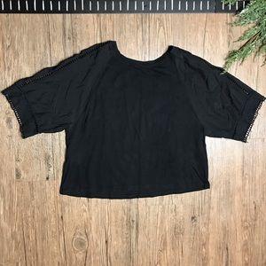 Zara Black Embroidered Crop Top Shirt